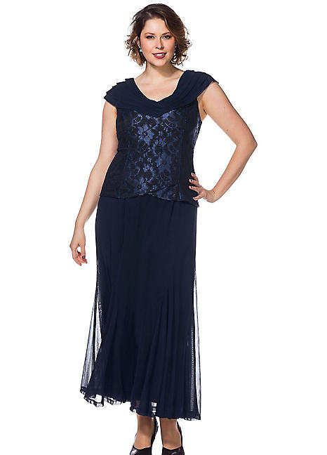 embroidered bodice evening dress by sheego curvissa. Black Bedroom Furniture Sets. Home Design Ideas