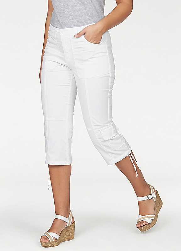 Plus Size Boysens Three Quarter Length Cargo Pants in White size 24R