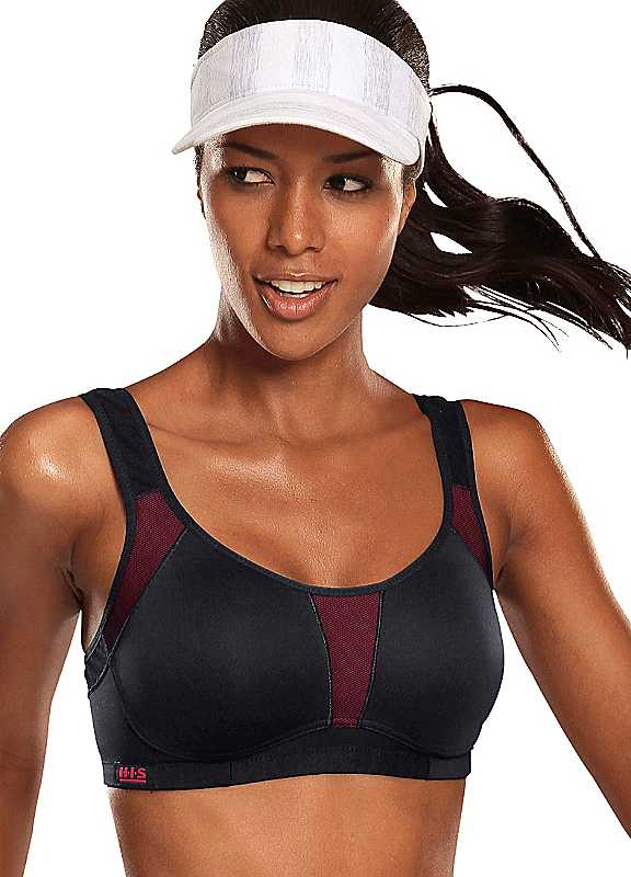 Plus Size Coolmax Sports Bra in Black  Pink size 36C
