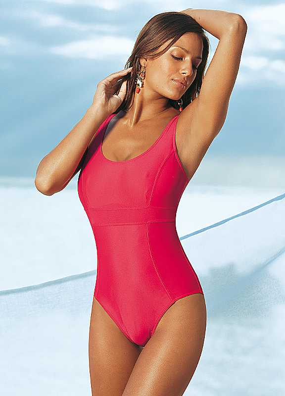 Plus Size LASCANA Optimizer Swimsuit in Red size 26C