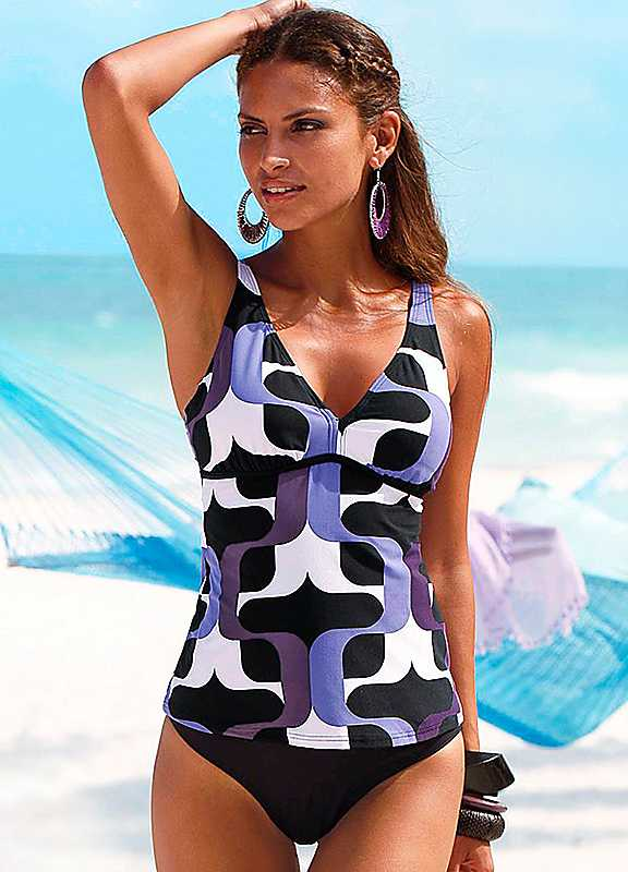 Plus Size s.Oliver Underwired Tankini in Black  Purple size 26B