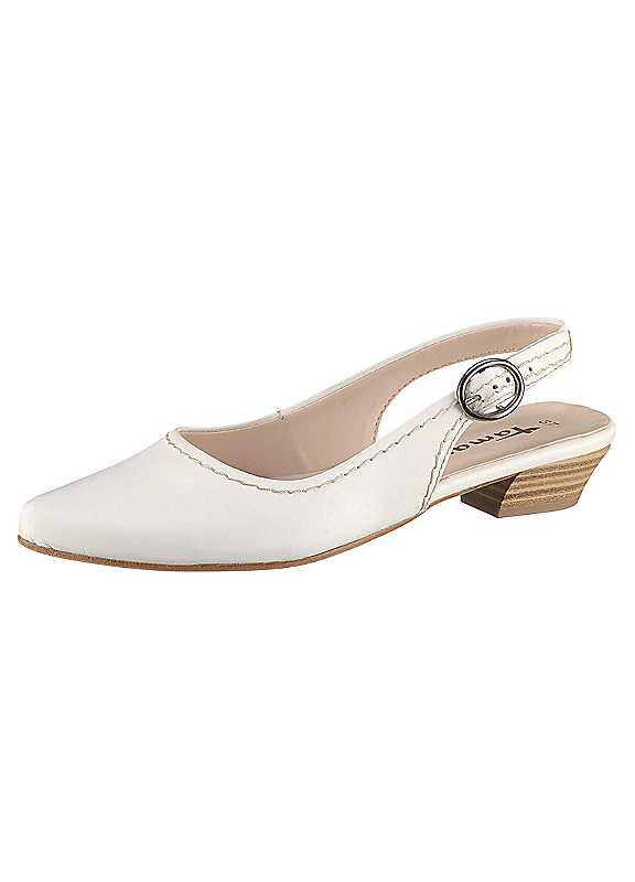 Plus Size Tamaris Low Slingback Shoes in White size 3.5