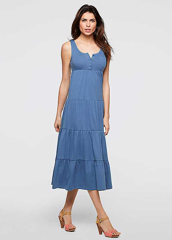 Plus Size Tiered Jersey Maxi Dress in Blue size 2628
